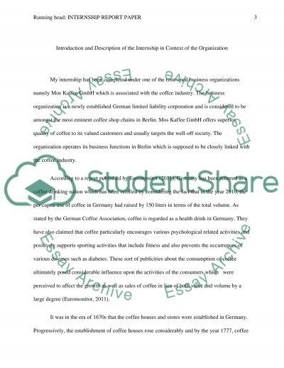 Internship Report Paper ( Mos Kaffee GmbH ) essay example