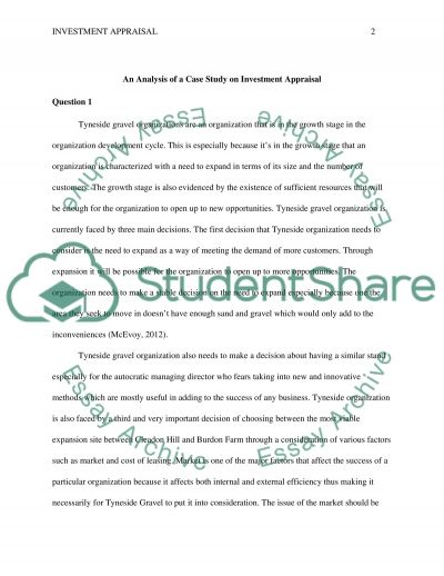 Investment Appraisal essay example