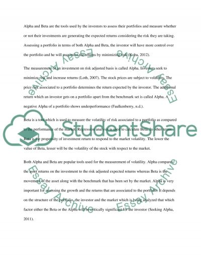 Finance Assessment Essay example