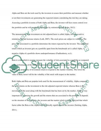 Finance Assessment essay example