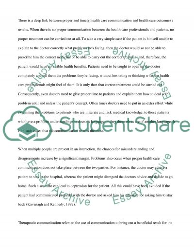 Personal and Professional Health Care Communication essay example