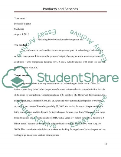 Products and Services  Essay example