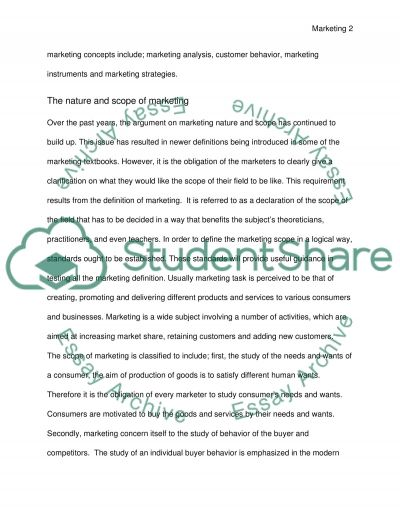 The nature and scope of marketing essay example