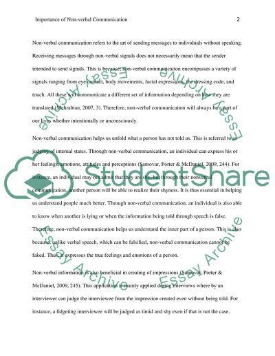verbal communication essay