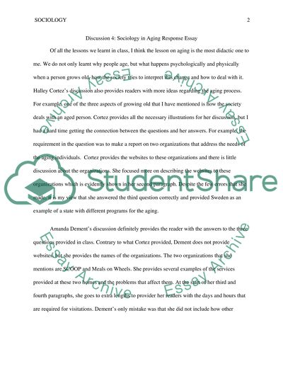 Sociology in againg classmate response 4