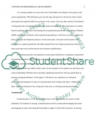 Continuum Professional Development essay example