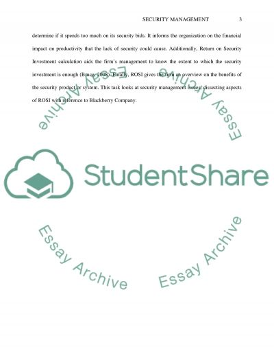 Security Management essay example