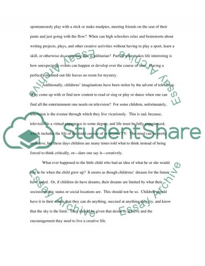 Encouraging Imagination in Children essay example