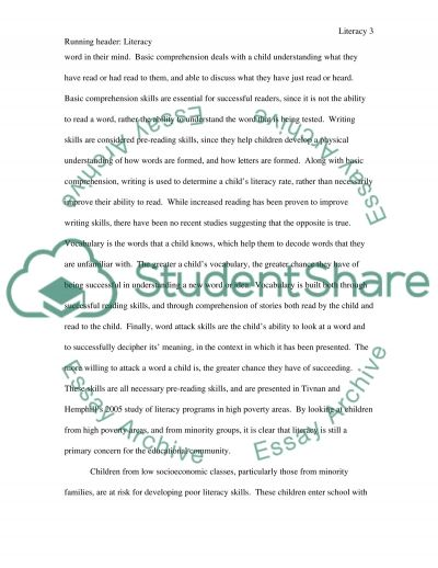 Literacy and First Graders essay example