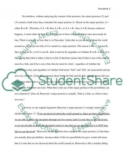 Evaluation of Bouwsmas Argument essay example