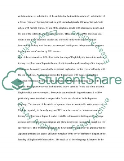 Article Errors among Japanese Students essay example