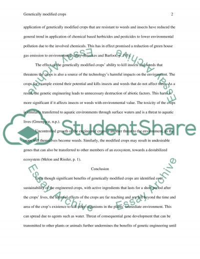 Are genetically modified crops more harmful than beneficial to the environment essay example