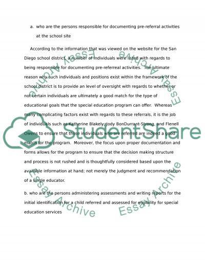 Special Education Procedures essay example