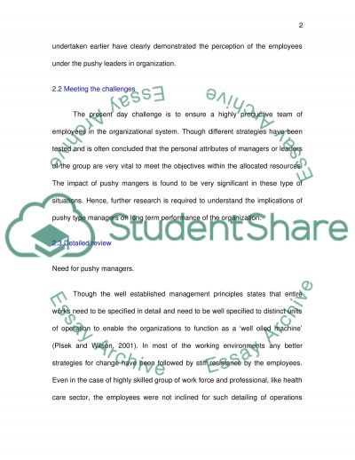 Overly Pushy Leaders in an Organization essay example