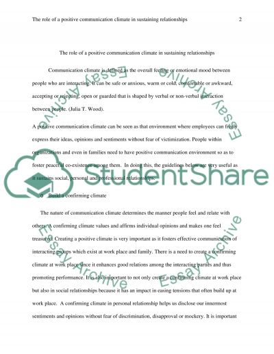 The Role of a Positive Communication Climate on Sustaining Relationships essay example