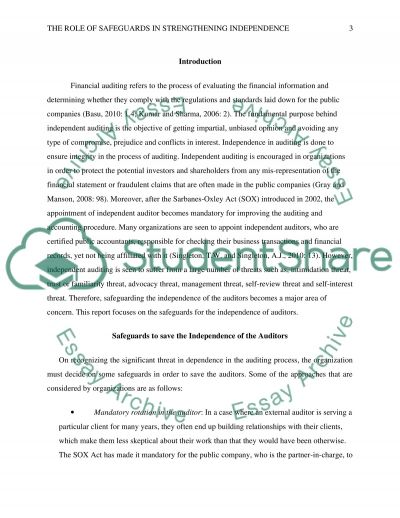 The Role of Safeguards in Strengthening Independence essay example