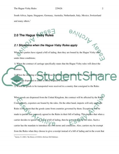 Hague Visby Rules essay example