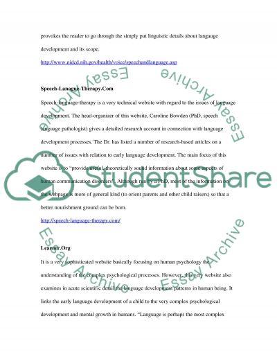 Language development High School Essay essay example