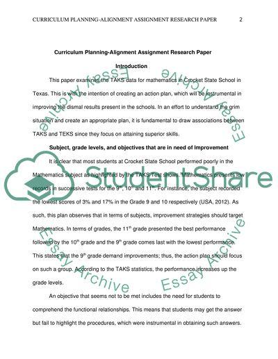 Curriculum Planning-Alignment Assignment