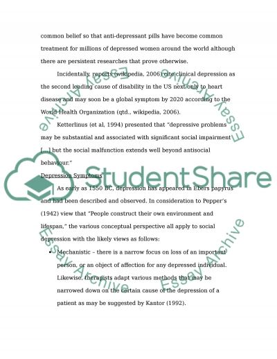 Depression: A Continuing or Discontinuing Syndrome of Social Malfunction essay example