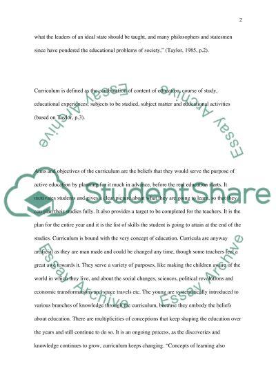 Curriculum essay example