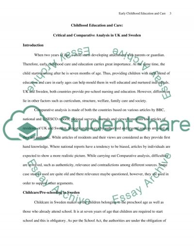 Carry out a critical and comparative analysis of early chidhood education and care in the united kingdom and Denmark or Sweden essay example
