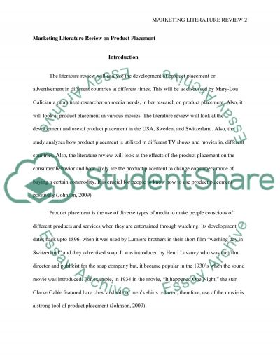 Marketing Literature review essay example