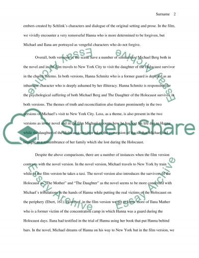 Compare and Contrast essay (the Reader novel vs film)