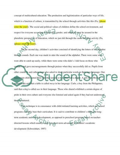 Reflection paper on a five-hour kindergarten observation