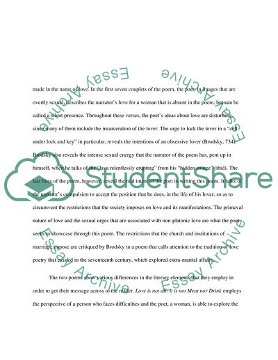 Explication Essay - comparing two poems of similar theme
