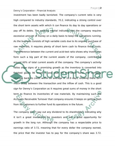 Dennys Corporation - Analysis on 2011 Annual Report essay example