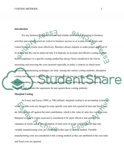 Cost Accounting essay example