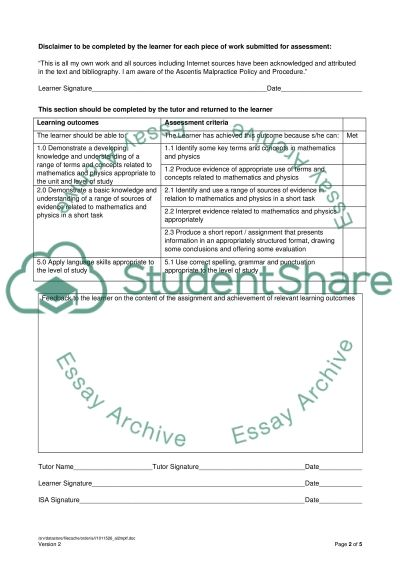 L2 Maths and Physics Short Task essay example