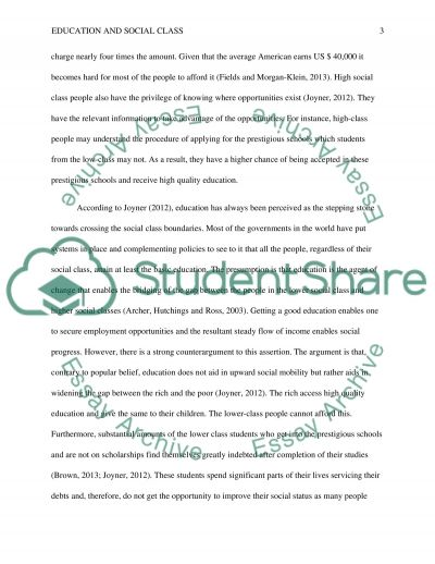 Education and social class essay example