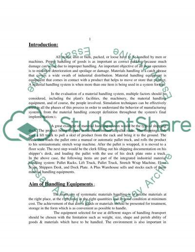 Materials Handling Systems essay example