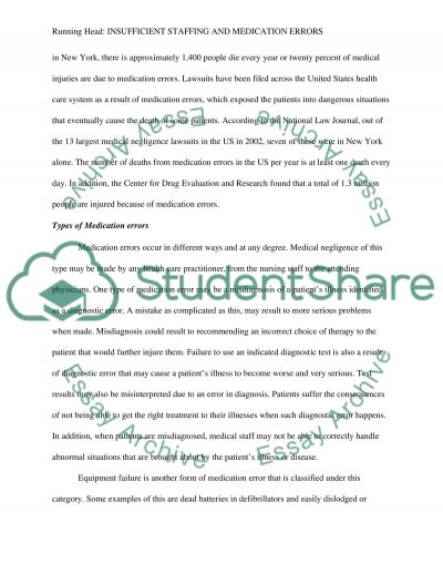 Insufficient Staffing and Medication Errors Essay example
