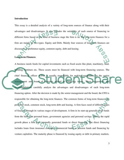 Longterm Sources Of Finance Essay Example  Topics And Well Written  Longterm Sources Of Finance Essay Thesis Example also Good Thesis Statement Examples For Essays  Pay To Do Assignments