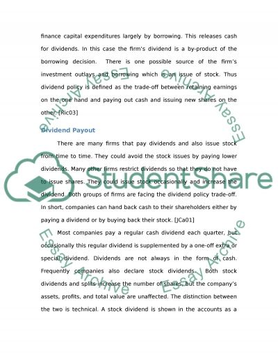 Marks & Spencers Dividend Policy essay example