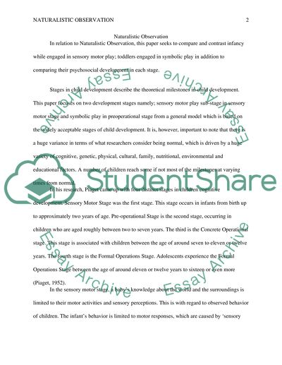 Naturalistic observation Essay Example | Topics and Well Written ...
