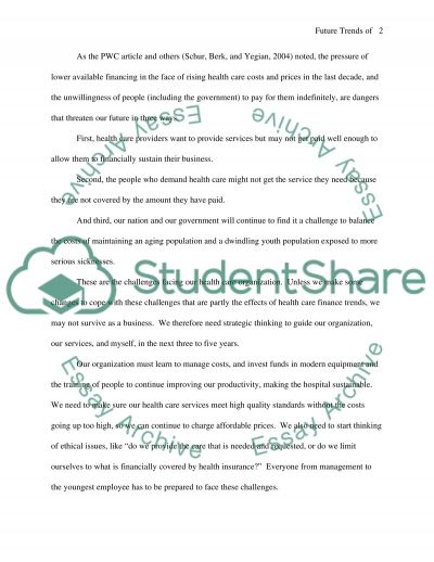 Future Trends of Health Care Finance essay example