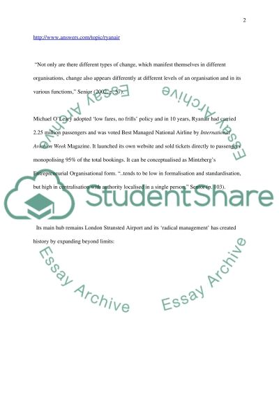 Management of change - Organisational Environment Essay example