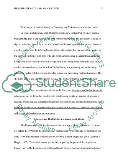 The Concept of Health Literacy in Promoting and Maintaining Adolescent Health Essay example
