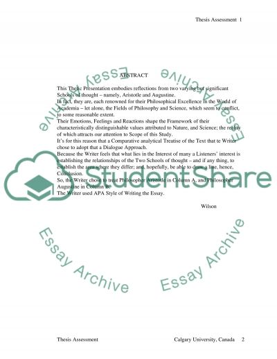 Aristotle and Augustine essay example