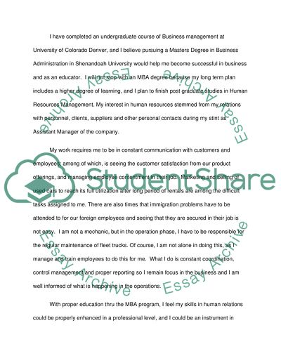 Personal statement for an MAB for international student