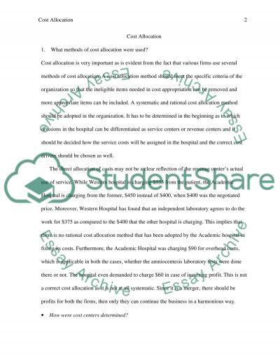 Cost allocation essay example
