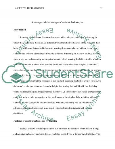 Advantages and Disadvantages of Assistive Technologies for students with Learning disabilities essay example