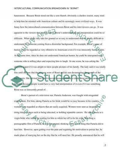 Intercultural communication / borat essay example