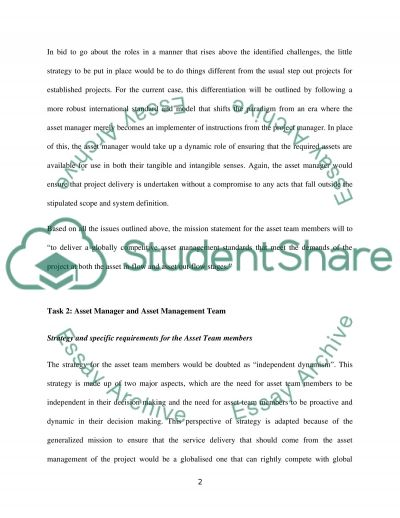Strategy and specific requirements for the Asset Team members essay example