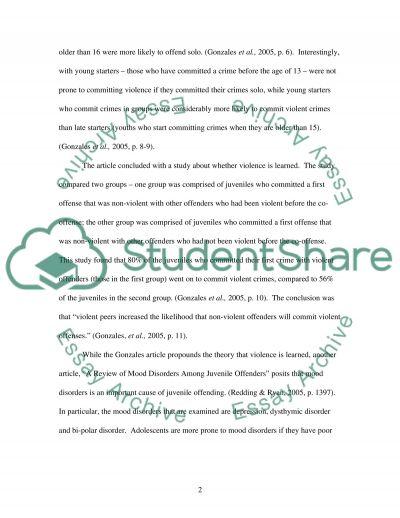 Juvenile crimes essay example