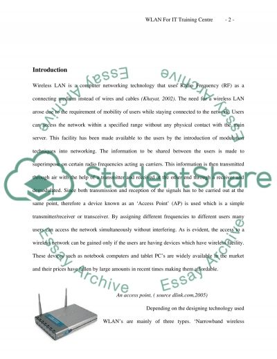 Wireless Network System for an IT Training Centre essay example